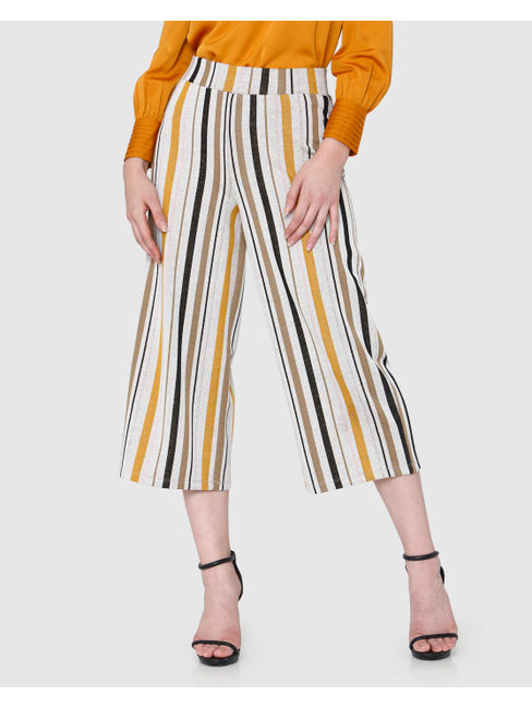 White & Yellow Striped Mid Rise Culottes