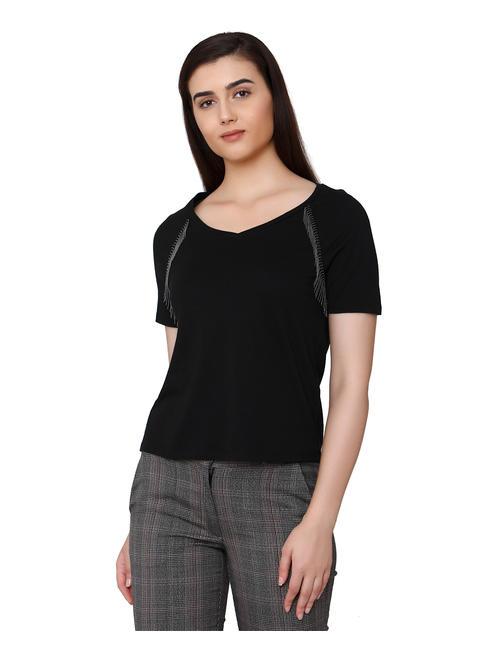 Black Chain Detail T-Shirt