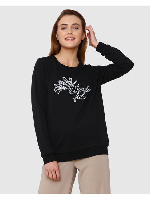 Black Embroidered And Text Print Sweatshirt