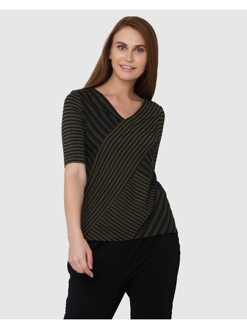Green And Black Striped V Neck T-Shirt