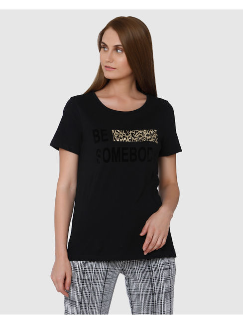 Black Graphic/Text Print Short Sleeves T-shirt