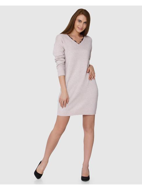 Pink Neck Lace Detail Bodycon Dress