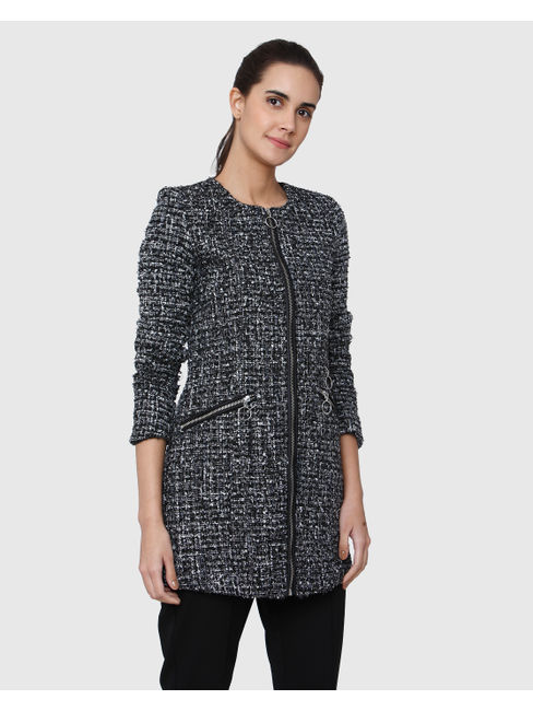 Black Textured Tweed Long Jacket