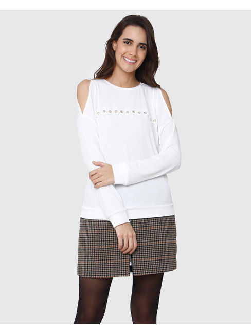 White Knit Long Sleeves T-Shirt