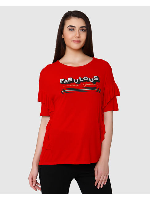 Red Text Print & Ruffle Sleeves T-Shirt