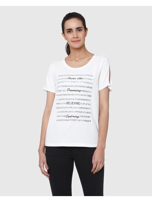 White Text Print T-Shirt