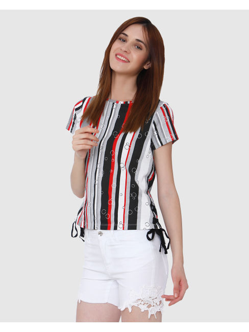 Mickey Multi-Coloured Striped All Over Print String Detail T-Shirt