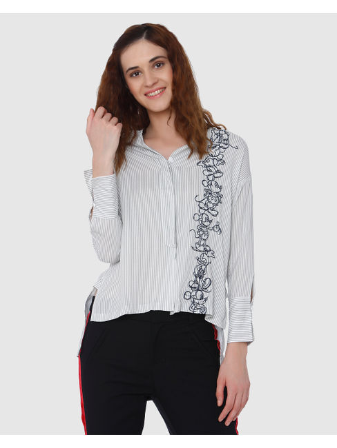 Mickey Grey Striped Mickey Graphic Print Shirt