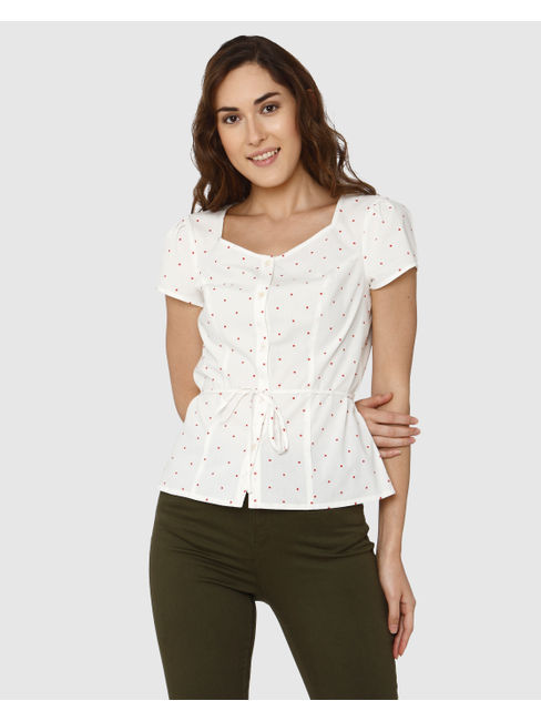 White Polka Dot Print Front Tie Belt Shirt