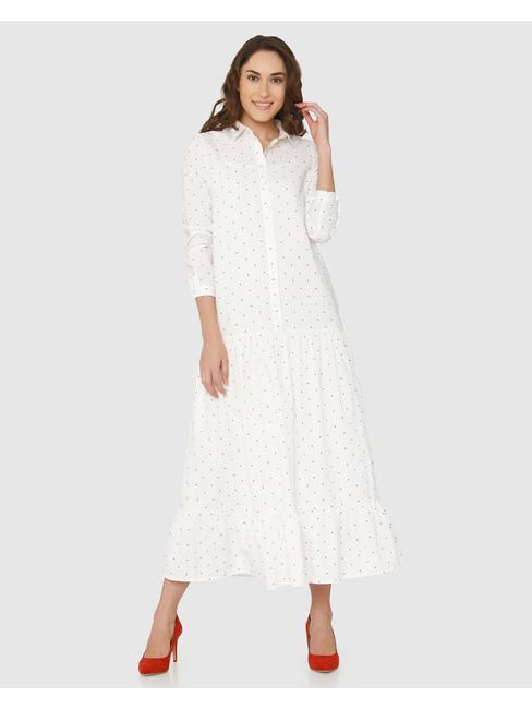 White Polka Dot Print Maxi Dress