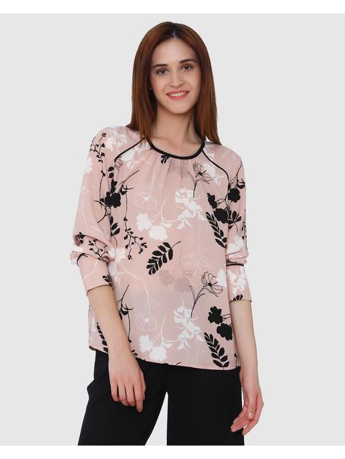 Peach Floral Print Top