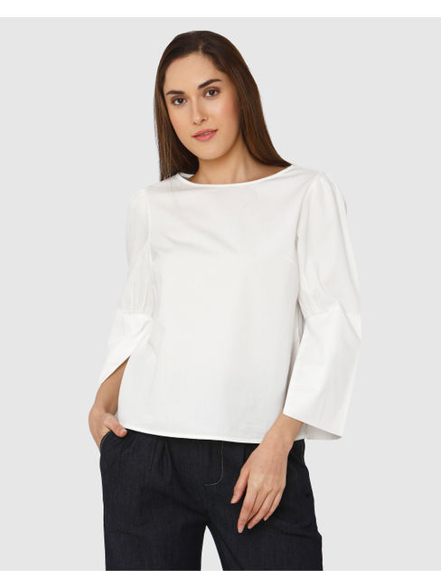 White Flared Sleeves Top