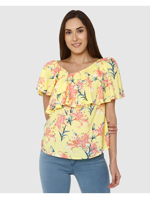 Yellow All Over Floral Print Flounce Top