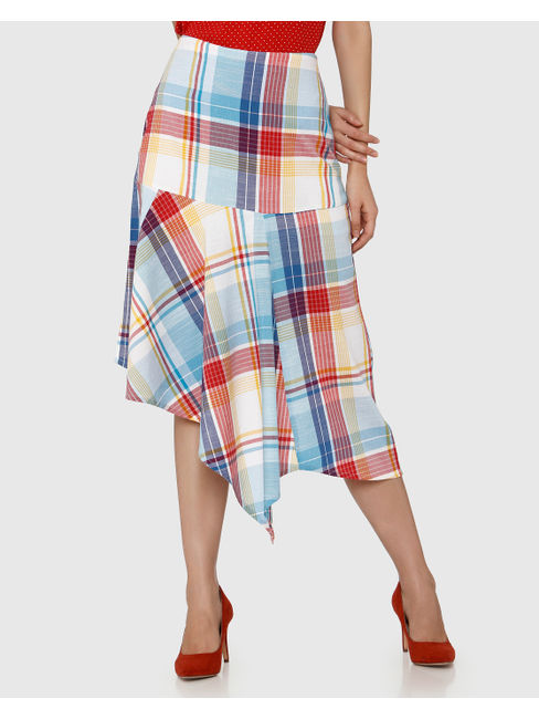 White Mid Rise Checks Asymmetric Midi Skirt