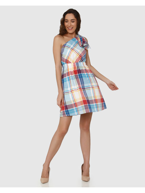 White Colour Blocked Checks One Shoulder Bow Detail Fit & Flare Dress