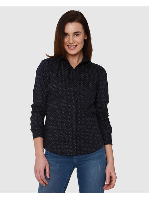 Dark Blue Polka Dot Shirt