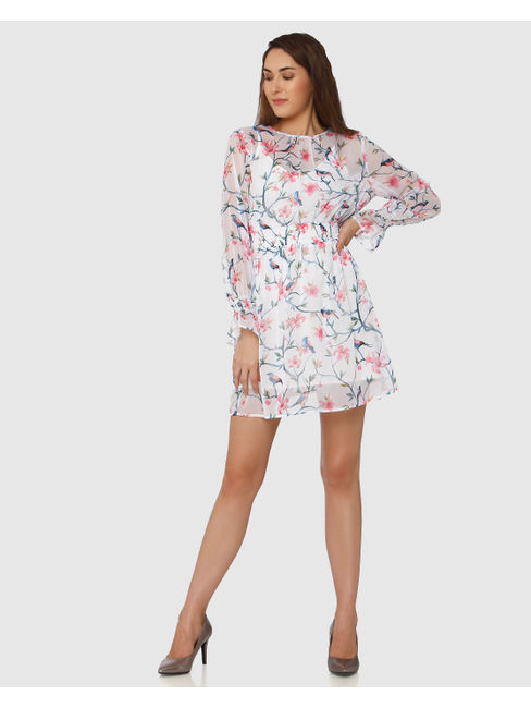 White Floral & Bird Print Fit & Flare Dress