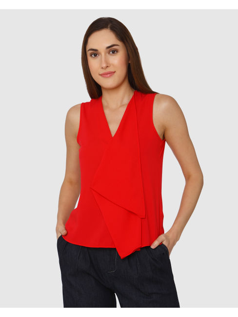 Red Drape Fall Detail Top