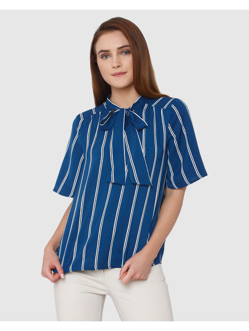 Blue Tie Up Striped Shirt