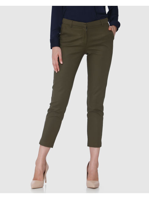 Green Mid Rise Ankle Length Straight Trousers