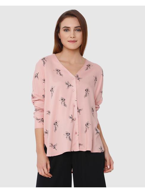 Rose All Over Crane Print High Low Shirt
