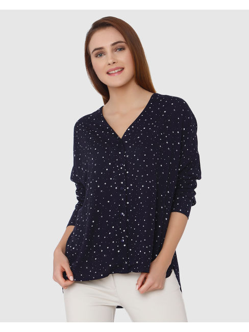 Navy Blue All Over Star Print High Low Shirt