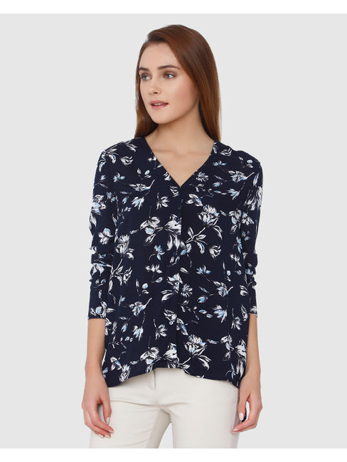 Navy Blue All Over Floral Print High Low Shirt