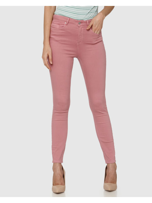 Pink High Waist Ankle Length Skinny Fit Pants