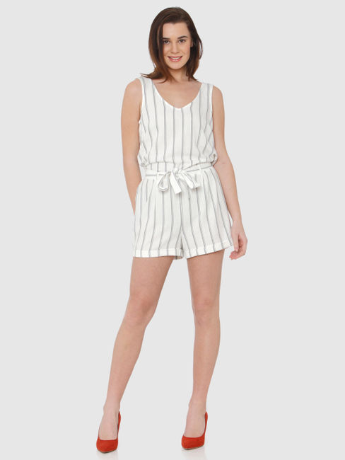 White Striped Tie Up Waist Playsuit