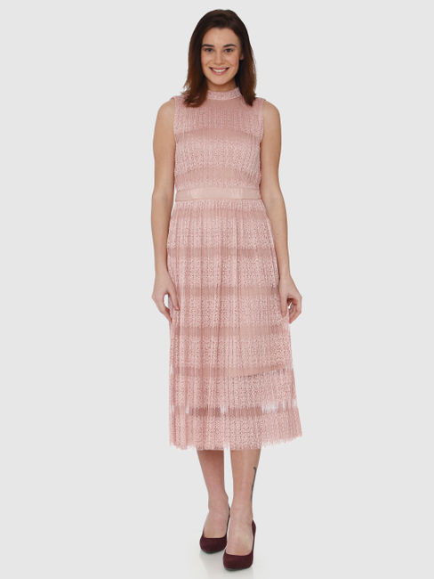 Pink Cut Work Lace Embroidered Back Neck Tie Midi Dress