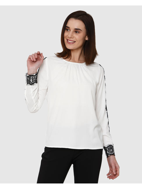 White Lace Insert Detail Top
