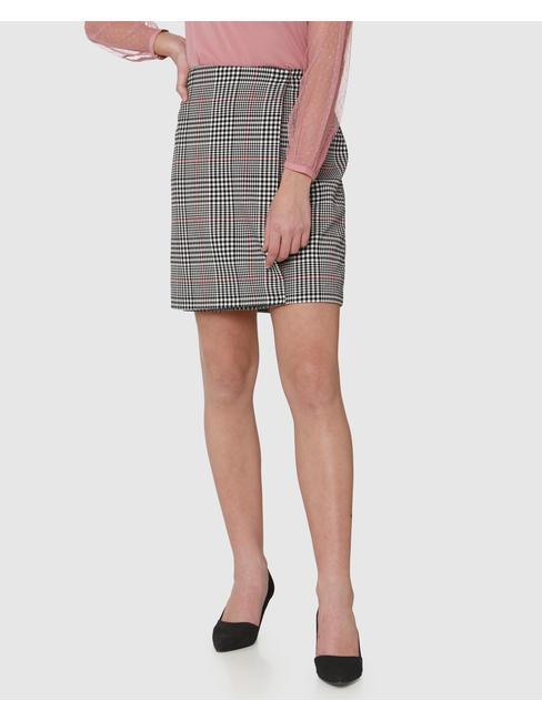 Black Mid Rise Colour Blocked Striped Wrap Skirt