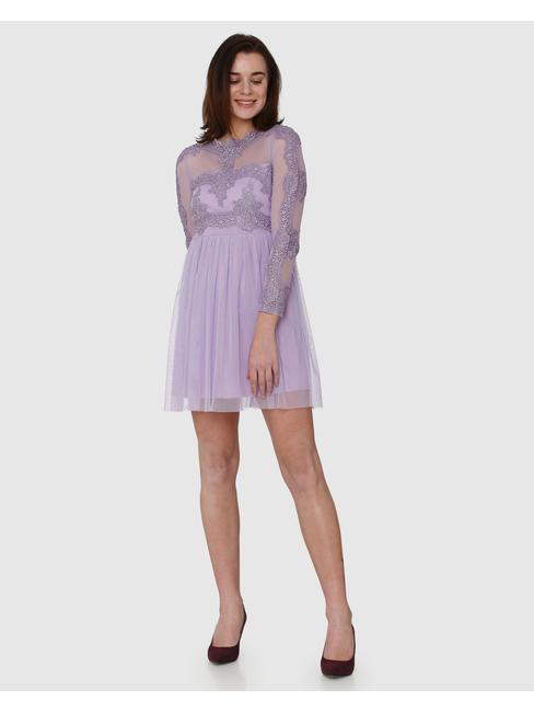 Lavender Lace Detail Fit & Flare Dress