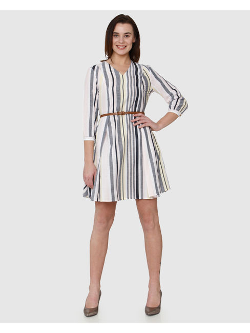 Beige Colour Blocked Striped Shift Dress