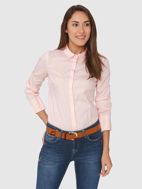Light Pink Checks Print Formal Shirt