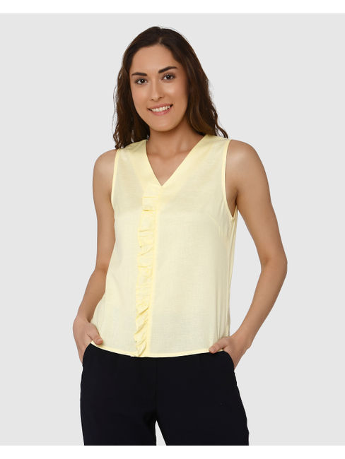Yellow Frill Detail Top
