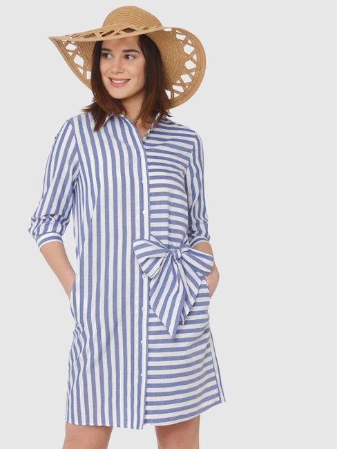 White And Blue Striped Large Side Bow Detail Shirt Dress