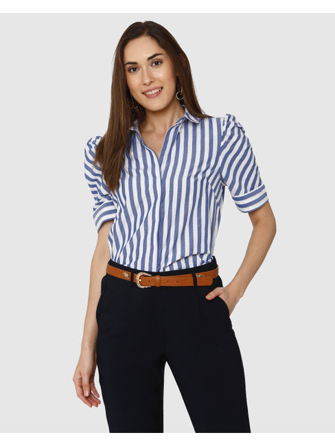 White and Blue Striped Puff Sleeves Shirt