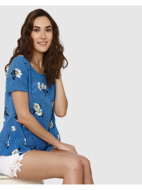 Blue All Over Floral Print Peplum Top