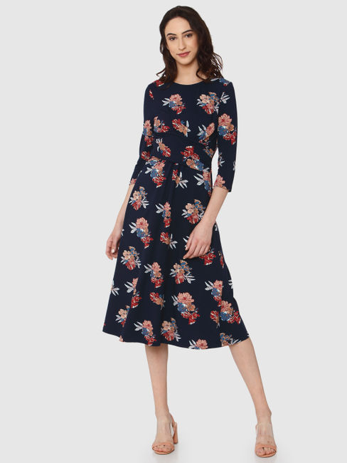 Navy Blue All Over Floral Print Drape Midi Dress