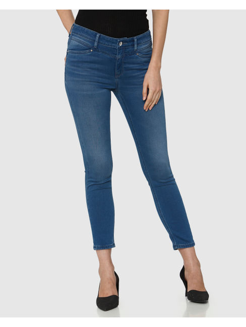 Blue Mid Rise Brushed Calf Length Skinny Fit Jeans