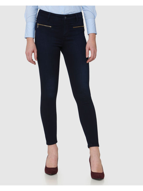 Blue Mid Rise Brushed Zip Detail Skinny Fit Jeans