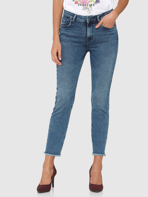 Blue High Rise Faded Ankle Length Slim Fit Jeans
