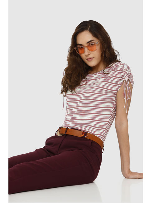 Pink Striped Tie Up Sleeves T-Shirt