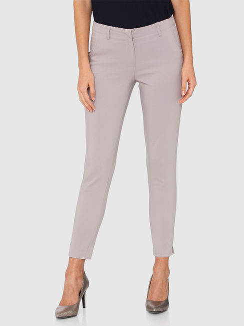 Grey Mid Rise Ankle Length Slim Fit Pants