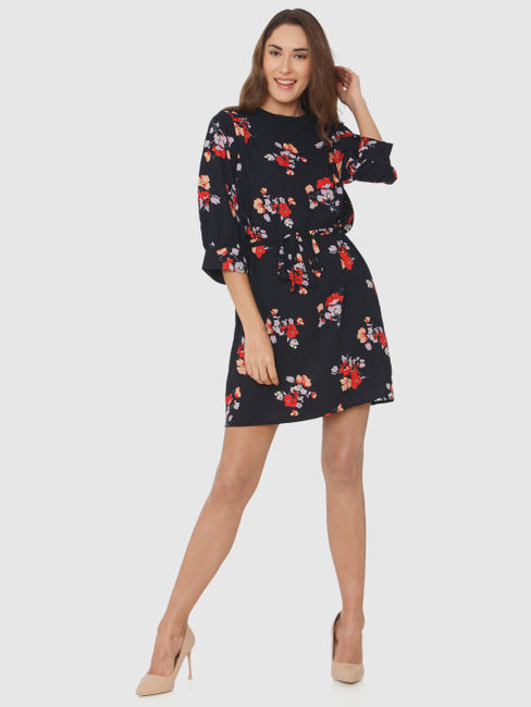 Navy Blue All Over Floral Print Tie Up Waist Ruffle Sleeves Shift Dress