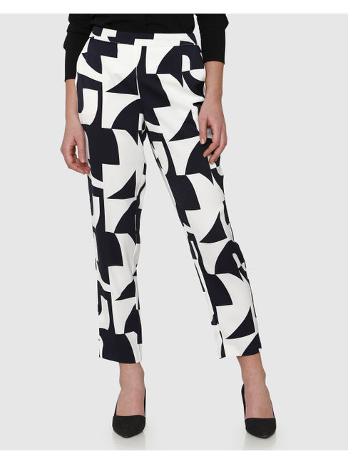 White Monochrome Print Mid Rise Ankle Length Straight Fit Trousers