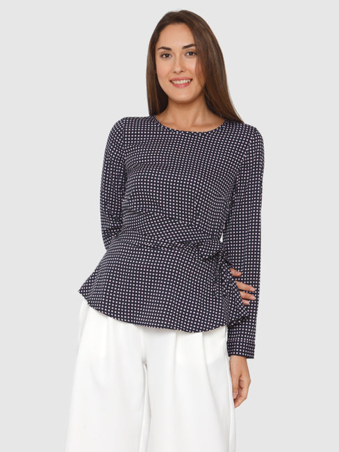Navy Blue All Over Micro Square Print Side Tie Top