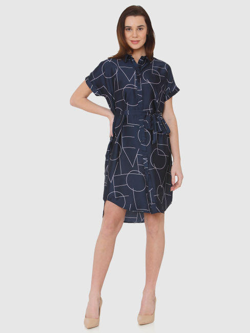Navy Blue Typographic Print Belted Shirt Dress