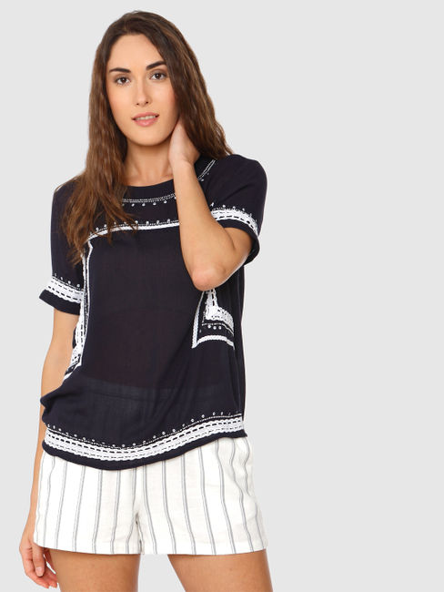 Navy Blue Cut Work Embroidery Top